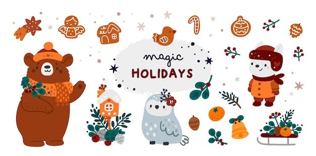 Feliz natal e um feliz ano novo! marco definido para cartão de férias, pôster, decoração de festa, impressão