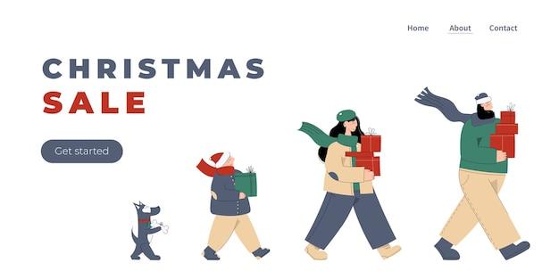 Feliz natal e um feliz ano novo! página inicial fofa de ano novo e natal para a liquidação de natal com uma família amorosa, mãe, pai, filho e cachorro carregando caixas de presente