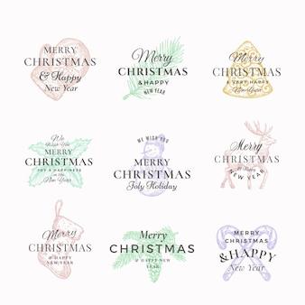 Feliz natal elegante e rótulos abstratos de feliz ano novo ou conjunto de modelos de logotipo.