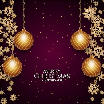 Feliz natal elegante fundo festival com bolas douradas