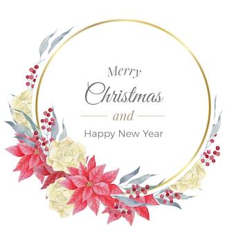 Feliz natal em aquarela com moldura redonda dourada, rosas e poinsétia