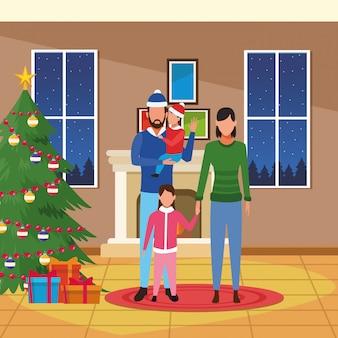 Feliz natal, em, família