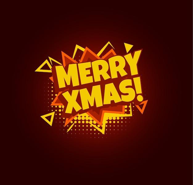 Feliz natal em quadrinhos discurso bolha pop art design feliz natal engraçado cartão capa vetor