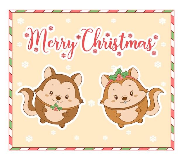 Feliz natal, esquilos fofos com cartão de desenho de floco de neve