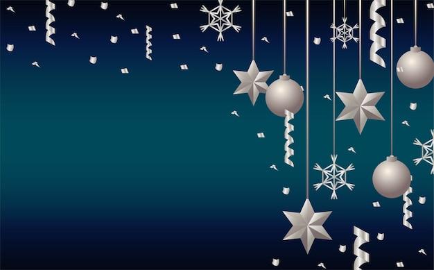 Feliz natal, estrelas de prata e bolas penduradas
