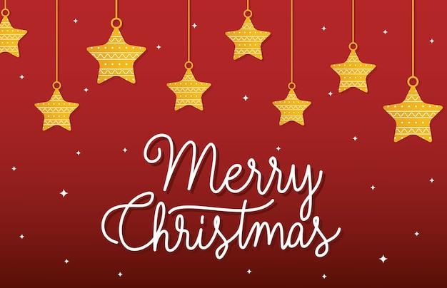 Feliz natal estrelas penduradas design.