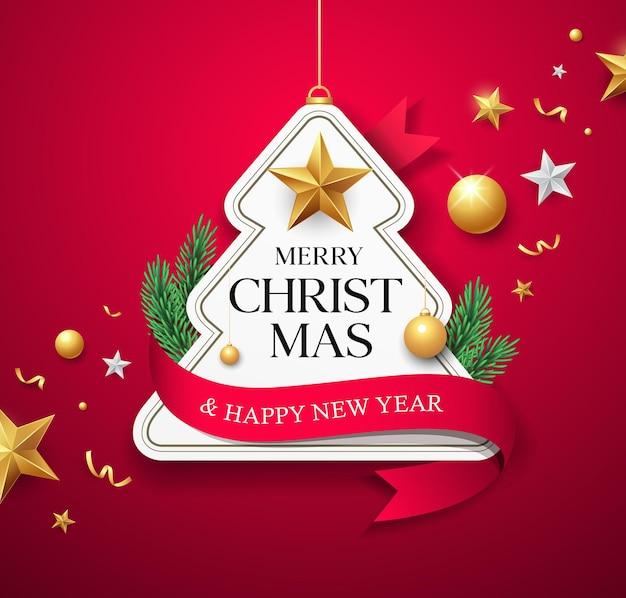 Feliz natal, etiqueta, papel, árvore, fita, vermelha