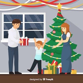 Feliz, natal família, ilustração