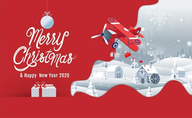 Feliz natal, feliz ano novo 2020, cidade natal, noite, paisagem de inverno,