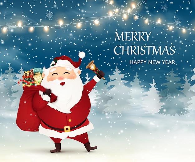 Feliz natal. feliz ano novo. bonito, alegre papai noel com saco de natal cheio de caixas de presente, presentes. toque de campainha na cena de neve de natal.