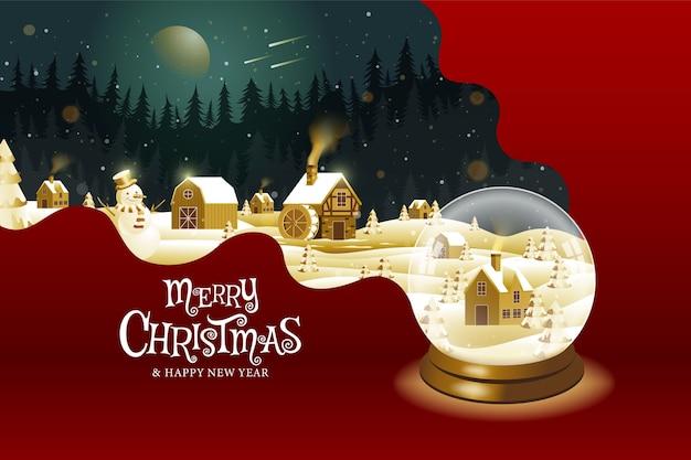 Feliz natal, feliz ano novo, caligrafia, dourado, fantasia de paisagem.