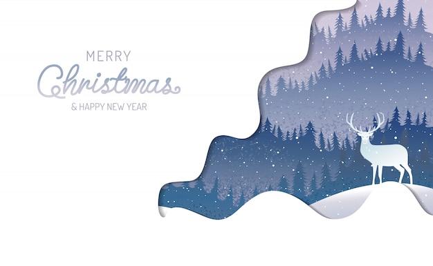Feliz natal, feliz ano novo, caligrafia, inverno paisagem