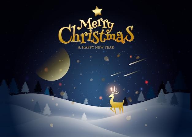 Feliz natal, feliz ano novo, caligrafia, paisagem de inverno.