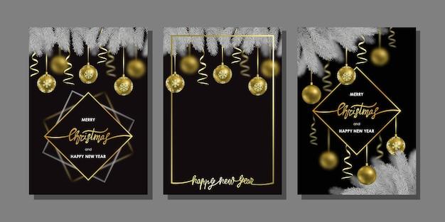 Feliz natal feliz ano novo conjunto de cartões modelo com árvore de natal e efeito bokeh