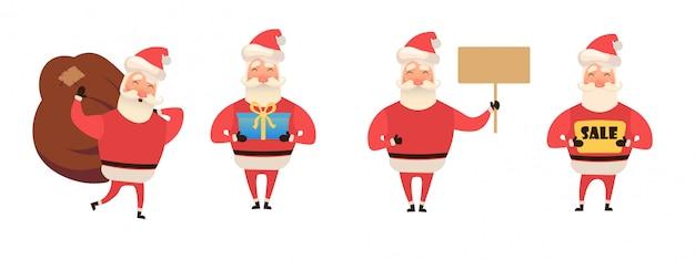 Feliz natal, feliz ano novo design de parabéns. retrato de personagem engraçada do papai noel. estilo dos desenhos animados.