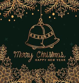 Feliz natal feliz ano novo design de sinos, temporada de inverno e decoração