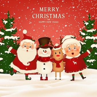 Feliz natal. feliz ano novo. engraçado papai noel com a sra. claus, rena de nariz vermelho, boneco de neve na paisagem de inverno cena de neve de natal. sra. claus juntos. personagem de desenho animado do papai noel.