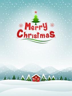 Feliz natal, feliz ano novo, neve, ilustração vetorial