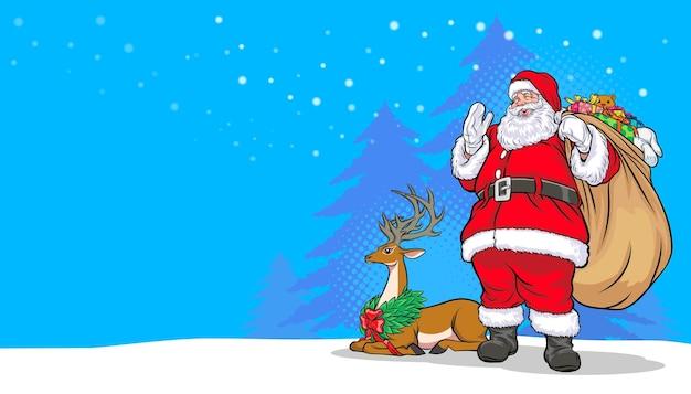 Feliz natal, feliz ano novo, papai noel carregando uma sacola de presentes e veados estilo de quadrinhos pop art