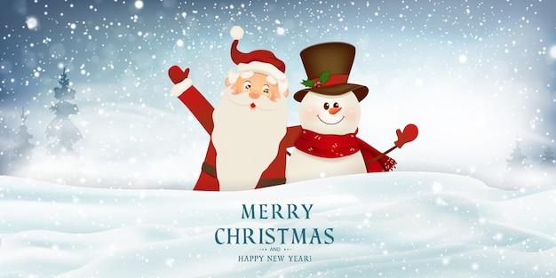 Feliz natal. feliz ano novo. sorrindo papai noel e boneco de neve bonito ilustração