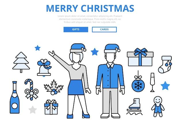 Feliz natal feliz ano novo venda presente celebração inverno feriado conceito ícones de arte de linha plana.
