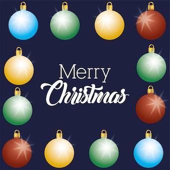 Feliz natal feliz cartão com bolas penduradas