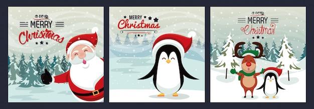 Feliz natal feliz cartão com personagens fofinhos