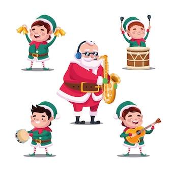 Feliz natal feliz com ilustração de instrumentos musicais de papai noel e elfos