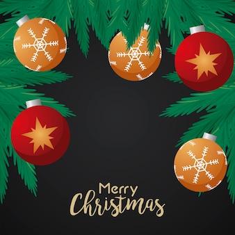 Feliz natal feliz letras com ilustração de bolas e folhas