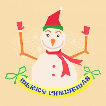 Feliz natal, feliz, natal, companheiros, engraçado, boneco neve, em, natal, neve, cena