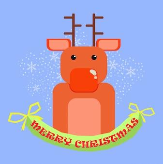 Feliz natal, feliz natal, companheiros, engraçado, rena, em, natal, neve, cena