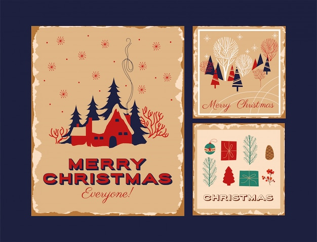 Feliz natal feliz pacote de cartões
