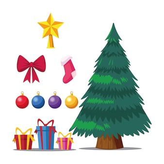 Feliz natal feliz pinheiro e ilustração de conjunto de ícones