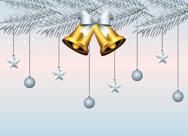 Feliz natal feliz, sinos dourados e bolas de prata penduradas