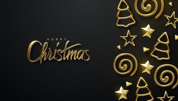 Feliz natal, feriado dourado, letras, sinal e formas de enfeite de árvore de natal em fundo preto