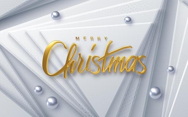 Feliz natal, feriado, letras douradas, sinal com bolas de prata em fundo de papel branco.