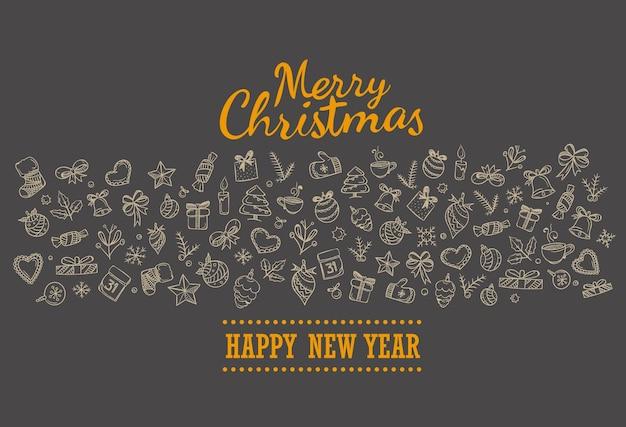 Feliz natal feriado lettering cartão de saudação. feliz natal e feliz ano novo