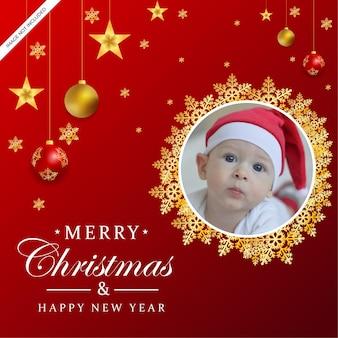 Feliz natal, feriado, saudação, moldura, foto, com, enfeite de natal