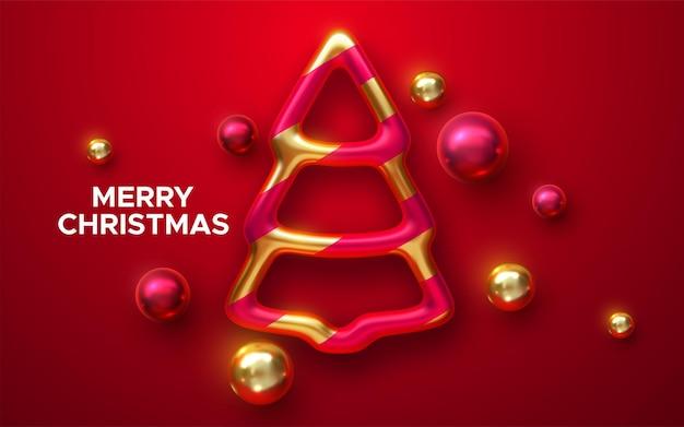 Feliz natal feriado sinal com brilhante árvore de natal bugiganga e bolas em fundo vermelho