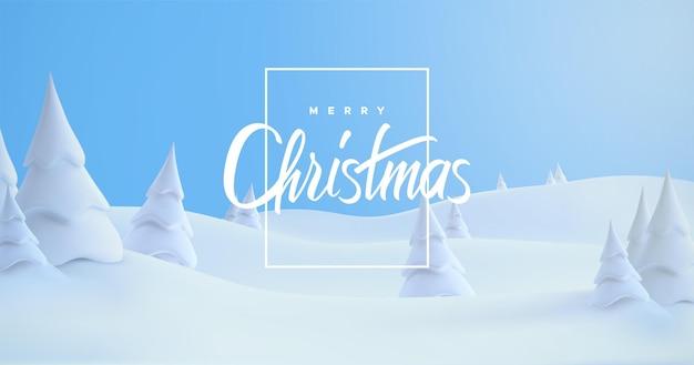 Feliz natal feriado sinal na paisagem de neve de inverno com montes de neve e pinheiros nevados