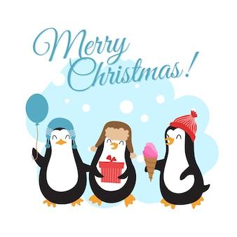 Feliz natal férias de inverno com pinguins dos desenhos animados