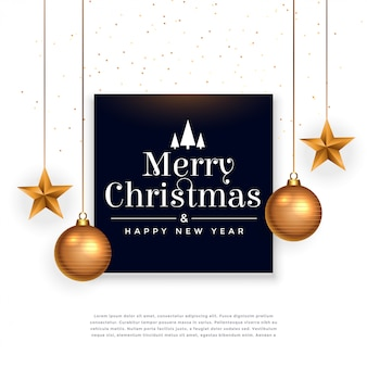 Feliz natal festival fundo bonito com bola e estrela