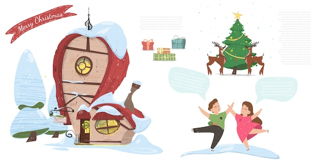 Feliz natal festivo cartoon banner