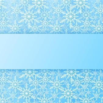 Feliz natal, flocos de neve de fundo padrão com retângulo de neve caindo banner cópia espaço