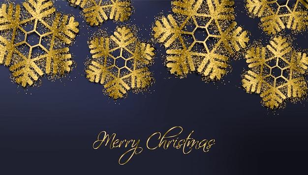 Feliz natal flocos de neve glitter dourados
