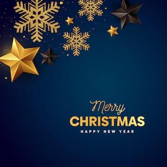 Feliz natal flocos de ouro e estrela com azul