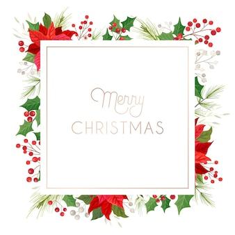 Feliz natal floral elegante, cartão de ano novo 2021, poinsétia, coroa de pinheiro, visco, baga de azevinho, ilustração de design de plantas de inverno para saudações, convite para 2020, folheto, brochura, capa em vetor