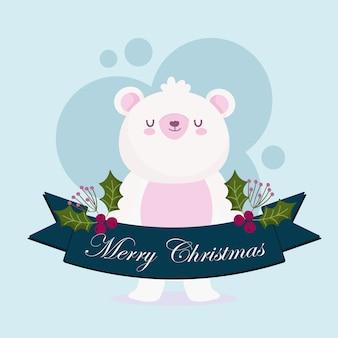 Feliz natal, fofo urso polar animal fita ilustração de cartão de bagas de azevinho