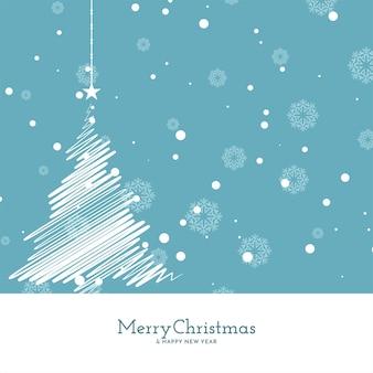 Feliz natal fundo azul suave com desenho de árvore