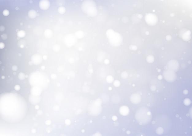Feliz natal fundo com luzes brancas bokeh